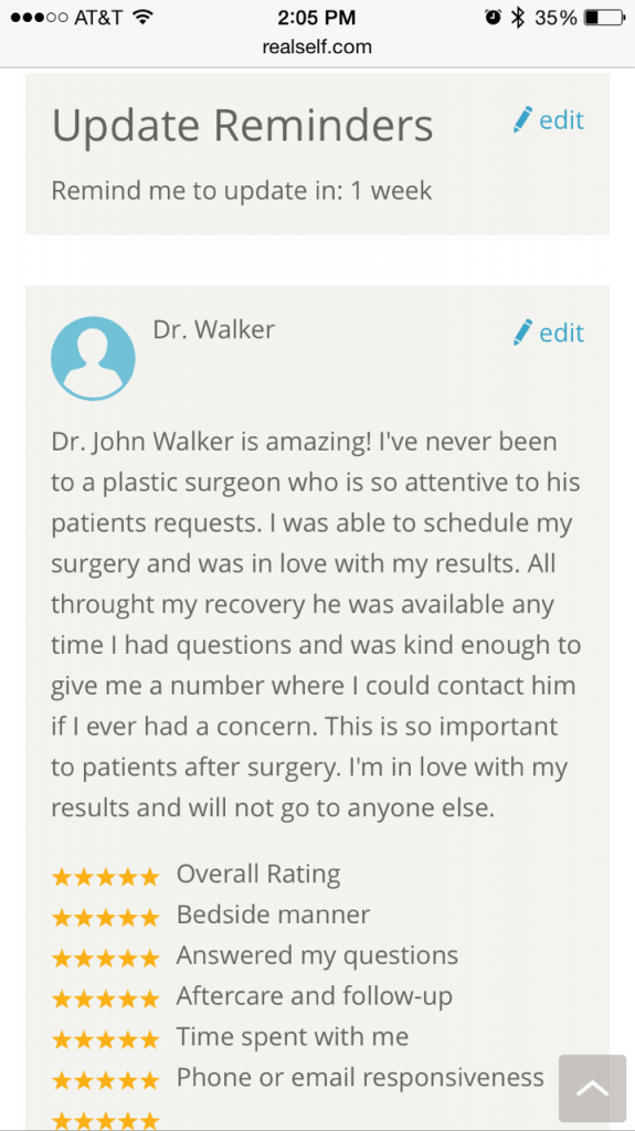 Testimonial from Plastic Surgery Patient